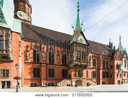 Side Of Old City Hall On Market Square In Wroclaw