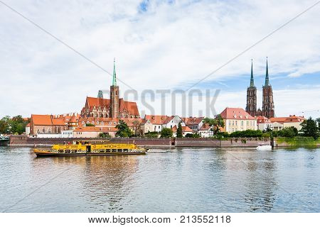 Excursion Ship In Oder River In Wroclaw City