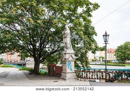 Waterfront Near Tumski Bridge In Wroclaw City