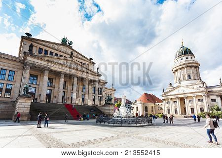 Concert Hall And Schiller Monument In Berlin