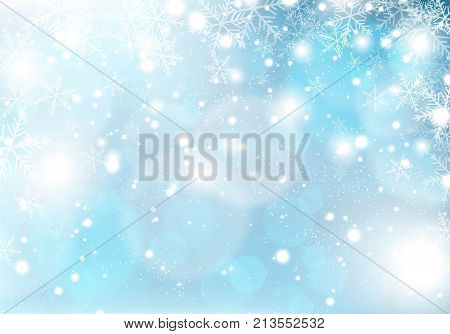 Winter snowing on a blue background. Christmas background.
