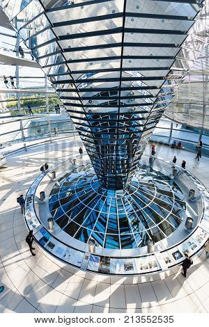 Tourists In Interior Of Reichstag Dome In Berlin