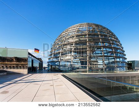 Visitors Near Dome On Roof Of Reichstag Palace