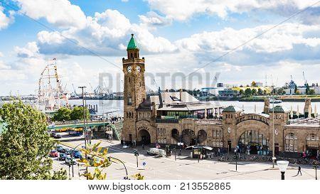 View Of St Pauli Landing Bridges In Hamburg Port