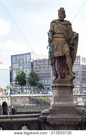 Statue Count Adolf Iii On Trostbrucke In Hamburg
