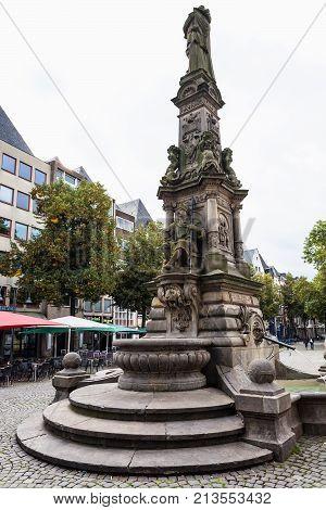 Jan Von Werth Fountain On Old Market In Cologne