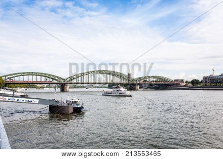 Hohenzollernbrucke Over Rhine River In Cologne