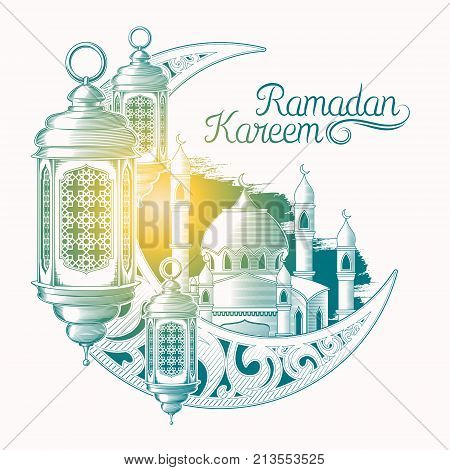 colored illustration for Ramadan Kareem with sketch of Ramadan lantern, towers of mosque, vintage moon isolated on white