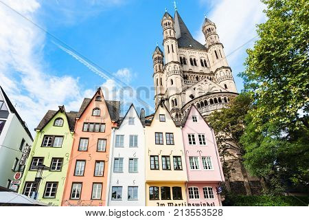 Medieval Houses On Fischmarkt Area In Cologne