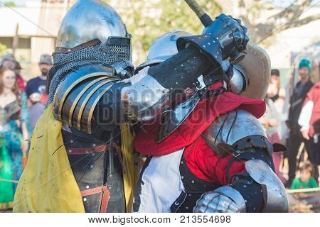 Knights Fighting Performing  During Nottingham