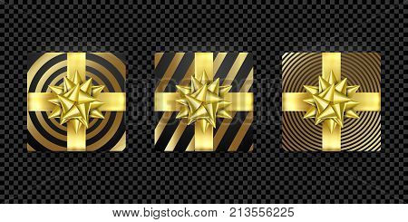 Christmas Gift Box Present Golden Ribbon Bow Gold Foil Wrapping Vector Pattern