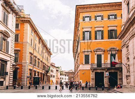 Rome, Italy - August 22, 2016: Outdoor view of the church of San Luigi dei Francesi. It is a Roman Catholic church.
