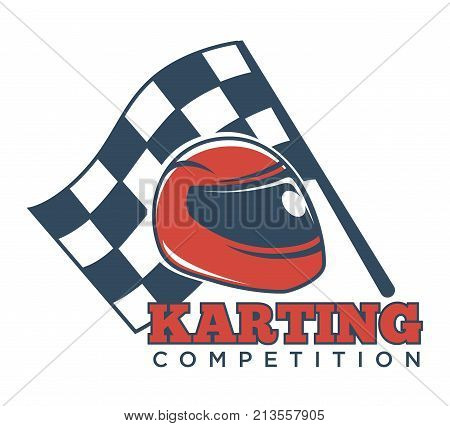 Karting competition advertisement logotype with red helmet for races with tinted glass and checkered flag for start announcement isolated cartoon flat vector illustration on white background.