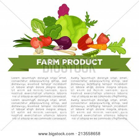 Farm product informative poster with vegetables and sample text. Cabbage head, ripe tomatoes, crispy carrot, bell paper, ripe beet and leek leaves cartoon vector illustration on promotional poster.