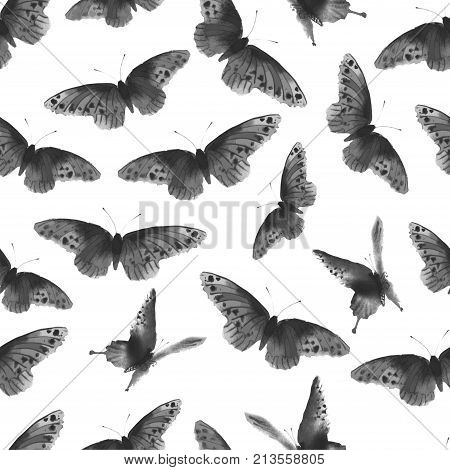 Seamless background with butterflies hand-drawn with ink. Traditional oriental ink painting sumi-e, u-sin, go-hua.