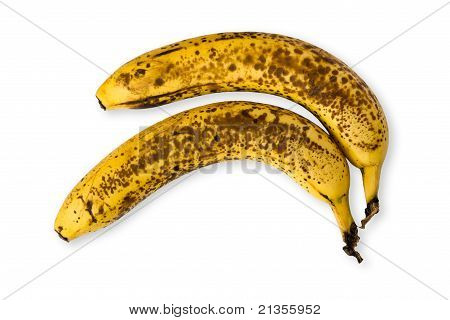 Detail Of Two Old Speckled Bananas