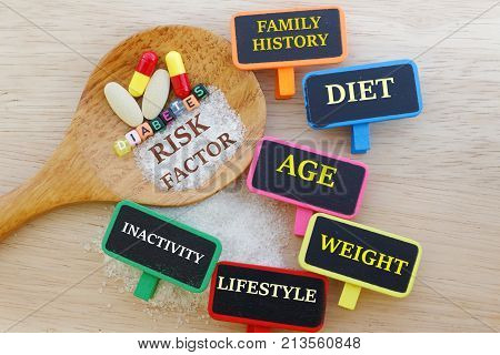 Diabetes risk factors concept with risk factors such as family history, diet, age, weight written on small chalkboard.