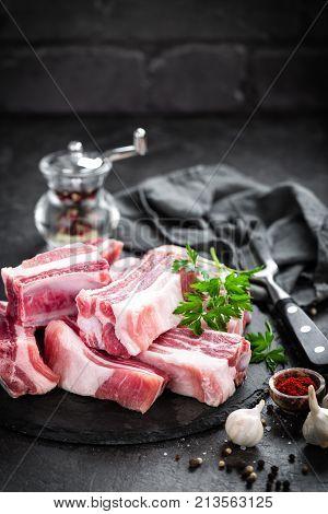 Raw pork ribs on board closeup, fresh meat