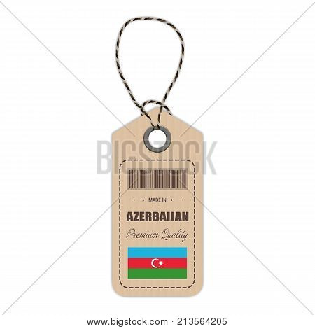 Hang Tag Made In Azerbaijan With Flag Icon Isolated On A White Background. Vector Illustration. Made In Badge. Business Concept. Buy products made in Azerbaijan. Use For Brochures, Printed Materials, Logos, Independence Day