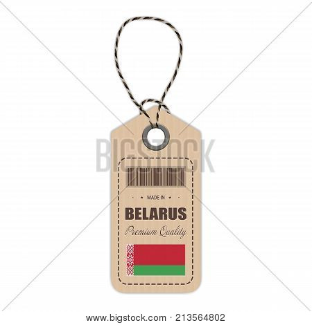 Hang Tag Made In Belarus With Flag Icon Isolated On A White Background. Vector Illustration. Made In Badge. Business Concept. Buy products made in Belarus. Use For Brochures, Printed Materials, Logos, Independence Day