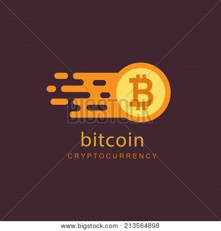 Bitcoin concept. Cryptocurrency logo sigh. Digital money. Block chain, finance symbol. Flat style vector illustration