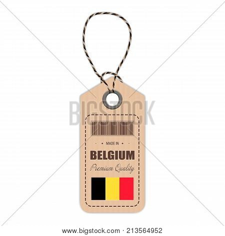 Hang Tag Made In Belgium With Flag Icon Isolated On A White Background. Vector Illustration. Made In Badge. Business Concept. Buy products made in Belgium. Use For Brochures, Printed Materials, Logos, Independence Day