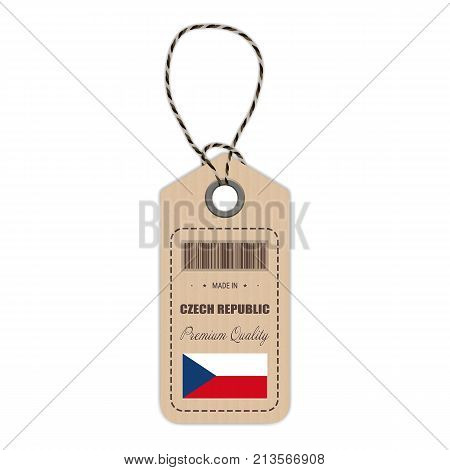 Hang Tag Made In Czech Republic With Flag Icon Isolated On A White Background. Vector Illustration. Made In Badge. Business Concept. Buy products made in Czech Republic. Use For Brochures, Printed Materials, Logos, Independence Day