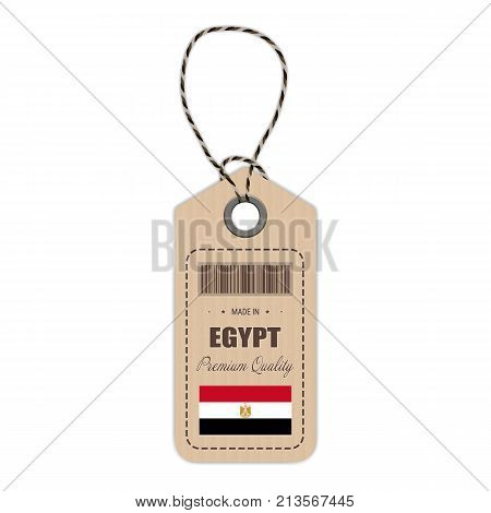 Hang Tag Made In Egypt With Flag Icon Isolated On A White Background. Vector Illustration. Made In Badge. Business Concept. Buy products made in Egypt. Use For Brochures, Printed Materials, Logos, Independence Day