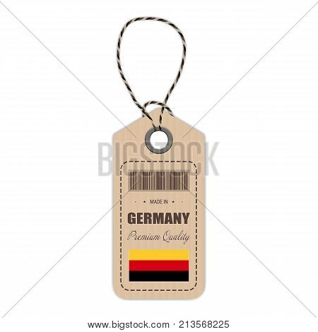 Hang Tag Made In Germany With Flag Icon Isolated On A White Background. Vector Illustration. Made In Badge. Business Concept. Buy products made in Germany. Use For Brochures, Printed Materials, Logos, Independence Day