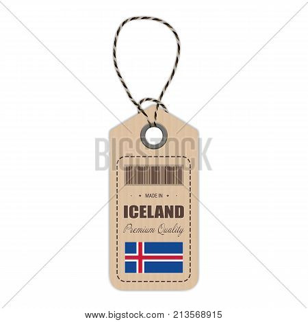 Hang Tag Made In Iceland With Flag Icon Isolated On A White Background. Vector Illustration. Made In Badge. Business Concept. Buy products made in Iceland. Use For Brochures, Printed Materials, Logos, Independence Day