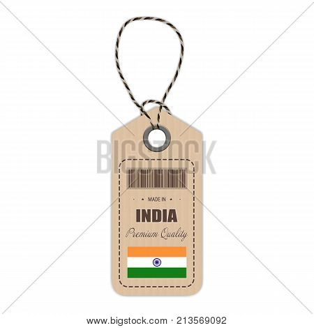 Hang Tag Made In India With Flag Icon Isolated On A White Background. Vector Illustration. Made In Badge. Business Concept. Buy products made in India. Use For Brochures, Printed Materials, Logos, Independence Day