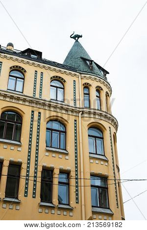 Palace With Cat Figure In Riga City