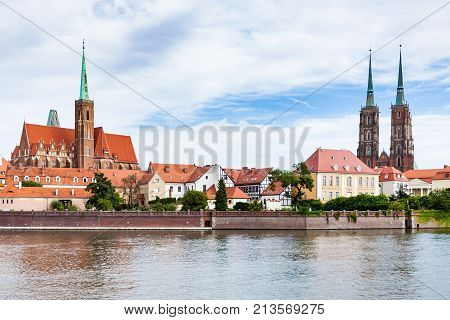 View Of Ostrow Tumski District In Wroclaw City