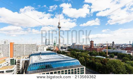 Panoramic View Of Berlin City With Tv Tower