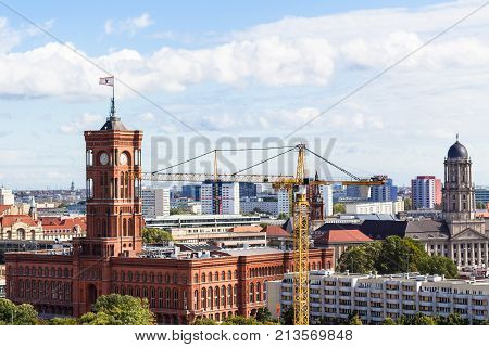 Above View Of Berlin City With Rotes Rathaus