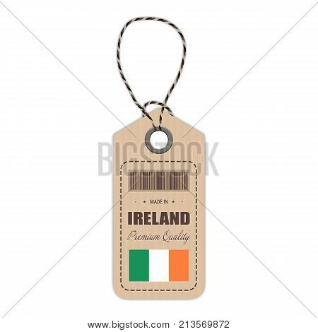 Hang Tag Made In Ireland With Flag Icon Isolated On A White Background. Vector Illustration. Made In Badge. Business Concept. Buy products made in Ireland. Use For Brochures, Printed Materials, Logos, Independence Day