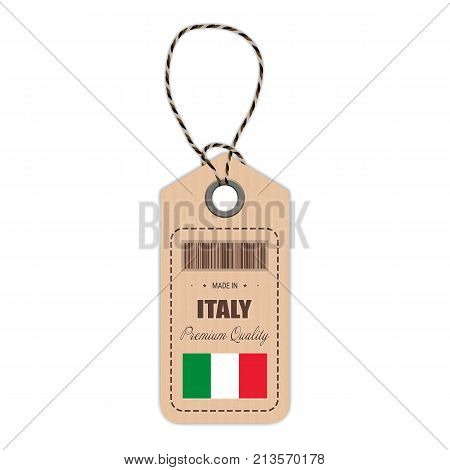 Hang Tag Made In Italy With Flag Icon Isolated On A White Background. Vector Illustration. Made In Badge. Business Concept. Buy products made in Italy. Use For Brochures, Printed Materials, Logos, Independence Day