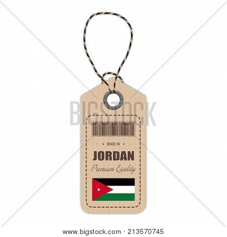 Hang Tag Made In Jordan With Flag Icon Isolated On A White Background. Vector Illustration. Made In Badge. Business Concept. Buy products made in Jordan. Use For Brochures, Printed Materials, Logos, Independence Day