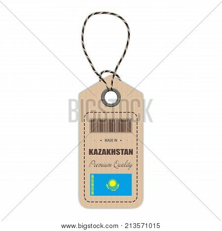 Hang Tag Made In Kazakhstan With Flag Icon Isolated On A White Background. Vector Illustration. Made In Badge. Business Concept. Buy products made in Kazakhstan. Use For Brochures, Printed Materials, Logos, Independence Day