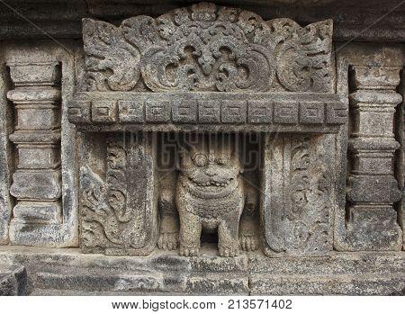 Stone frescoes of Ancient Hindu temple Prambanan. The island of Java. Indonesia.