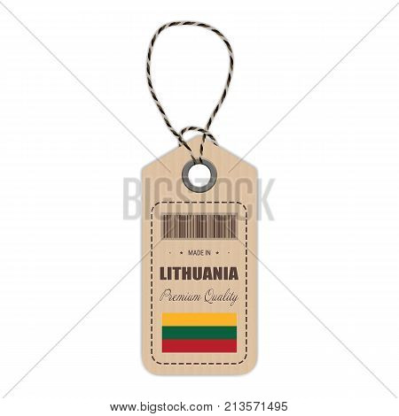 Hang Tag Made In Lithuania With Flag Icon Isolated On A White Background. Vector Illustration. Made In Badge. Business Concept. Buy products made in Lithuania. Use For Brochures, Printed Materials, Logos, Independence Day