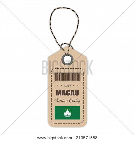 Hang Tag Made In Macau With Flag Icon Isolated On A White Background. Vector Illustration. Made In Badge. Business Concept. Buy products made in Macau. Use For Brochures, Printed Materials, Logos, Independence Day