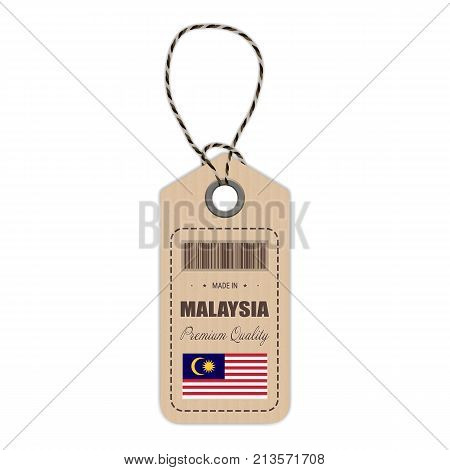 Hang Tag Made In Malaysia With Flag Icon Isolated On A White Background. Vector Illustration. Made In Badge. Business Concept. Buy products made in Malaysia. Use For Brochures, Printed Materials, Logos, Independence Day