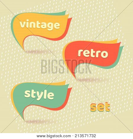 Retro Banners With Text Retro, Vintage, Style Set  Vector