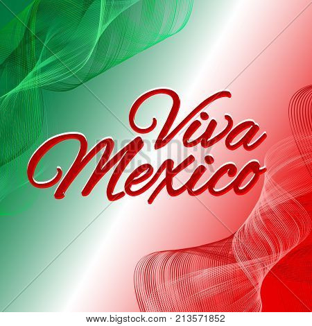Inscription Viva Mexico Against The Background Of The National Flag  Mexiсo Vector