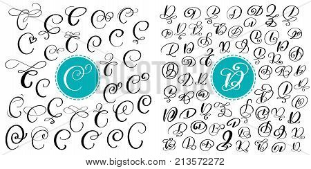 Set of Hand drawn vector calligraphy letters C and D. Script font. Isolated letters written with ink. Handwritten brush style. Hand lettering for logos packaging design poster.