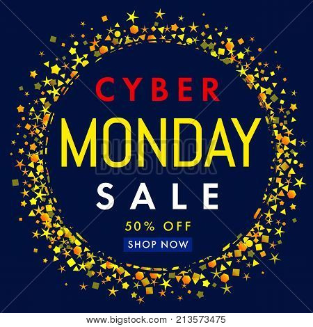 Cyber monday sale label banner yellow stars on navy blue background 50% off. Cyber Monday sale concept promotion for website display with text on blue background. Vector illustration