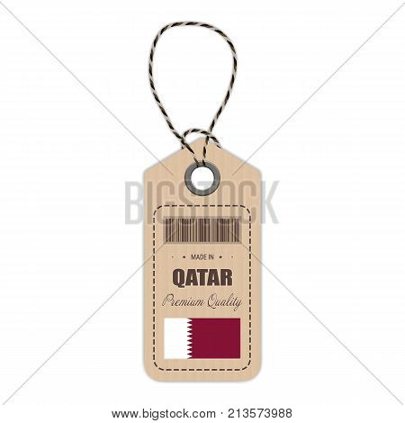 Hang Tag Made In Qatar With Flag Icon Isolated On A White Background. Vector Illustration. Made In Badge. Business Concept. Buy products made in Qatar. Use For Brochures, Printed Materials, Logos, Independence Day