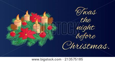 Christmas Eve Greeting Card Or Horizontal Banner With The Text Of An Old Poem. Traditional Evergreen