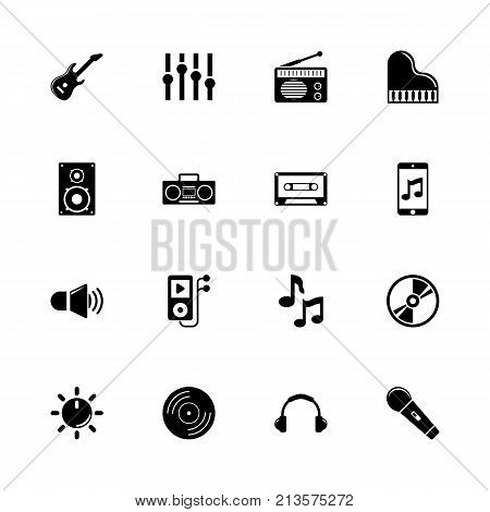 Music - Expand to any size - Change to any colour. Flat Vector Icons - Black Illustration on White Background.